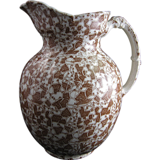 Large Aesthetic Brown Transferware Pitcher - 1889