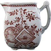 English Aesthetic Movement Transferware Pitcher 1880s