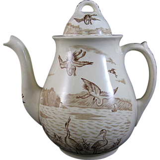 Large Victorian Aesthetic Brown Transferware Teapot / Coffee Pot 1878