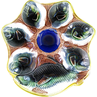SALE Victorian English Majolica 6-well Oyster Plate ca. 1870s (30% OFF)
