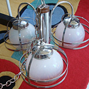 Mid Century Modern Chrome and Glass Light Fixture