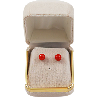 Italian Red Coral Button Earrings 14Kt Gold Posts NOS
