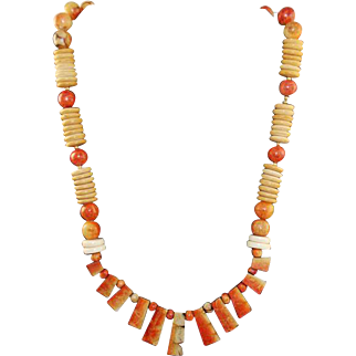 Modernist Rare Apple Coral Collar Necklace