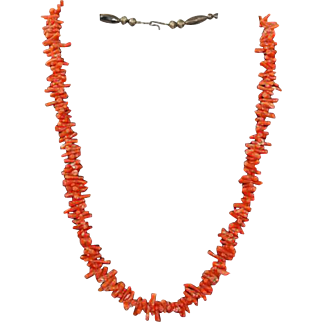 Native American Red Branch Coral Necklace Sterling Clasp