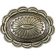 Vintage Sterling Silver Concho Style Stamped Brooch