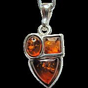 Vintage Amber & Sterling Silver Pendant - Three Stone Design
