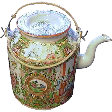 Rose Medallion Teapot w Floral and Court Scene Panels, China