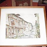 Framed Vintage Water Color on Artist's Board, Village Scene, Artist Signed