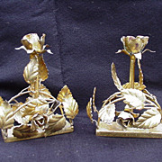 Pair of Gold-Painted Florentine Candlesticks, Italy, Roses and Leaves
