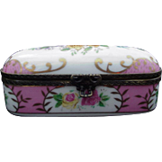 Vintage Hand-Painted Porcelain Box with Metal Encased Rims