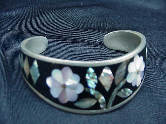 Shaped Silvertone Cuff Bracelet with Black Enamel and MOP Inlay Design