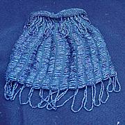 Vintage Drawstring Handbag Covered with Tiny Blue Beads