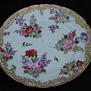 Fabulous Hand-Painted, Floral Porcelain Plates with Applied Gold Slip Accents