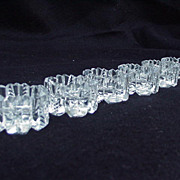 Six Clear Crystal Cut Glass Salts