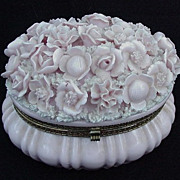 Oval Porcelain Vanity Jar by Ardalt, Japan, with Flowers and Sprigs