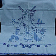 Vintage Needlework Towel with Appliques and Embroidery of Windmill and Dutch Boys and Girls