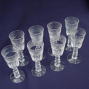 Eight Crystal Cordials, Leaf Cuts and  Band of Diamond Cuts