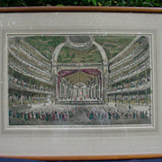 Hand-Colored French Engraving of a Theatre Interior in 18th C. Veronne, Italy