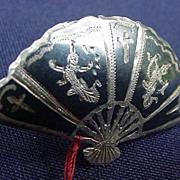 Siam Sterling Pin, 1950s, Fan with Engraved Dancers