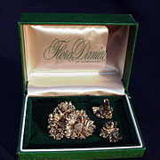 Vintage Flora Danica of Copenhagen Boxed Sterling Pin and Earrings, Leaf Design
