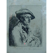 Arthur William Heintzelman Etching, 1925, Pontilliac, France, Study of An Artist