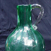 Azure Blue Blown Glass Pitcher or Vase with Applied Clear Handle