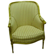 Louis XVI Style Bergere, Gilded Frame, Pink Striped Upholstery