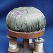 Hand-Made Pin Cushion and Thread Caddy, Dated and Signed 1833