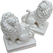 Pair of Fitz and Floyd White Porcelain Lion Bookends