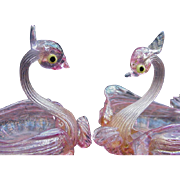 Pair of Vintage Murano Blown Glass Swan Salts