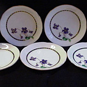Five Vintage Japanese Plates with Violets