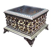 Square Goldtone Jewelry Box with Beveled Glass Lid, Reticulated Sides