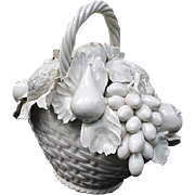 White Porcelain Basket of Flowers, Vietri, Made in Italy