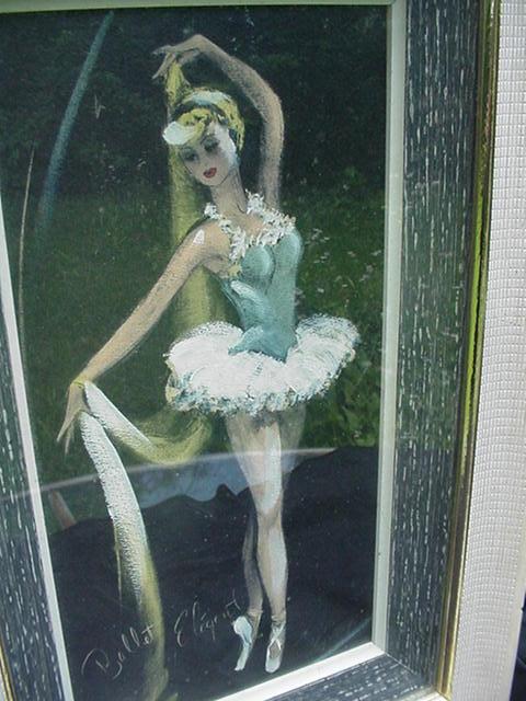 Mid-Century Framed Print of Toe Dancer, Ballet Elegant