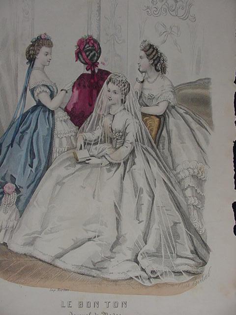 Le Bon Ton,  19th C. Paris Fashion Journal, Original Page of Women's Fashions
