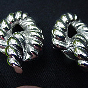 Givenchy Silver Tone Metal Knot Earrings, Clip-Ons