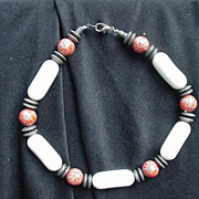 Vintage Red, White & Silvertone Metal Beaded Necklace