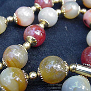 Vintage Polished Hardstone Necklace with Goldtone Metal Spacers