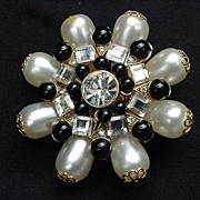 Vintage Medallion Pin  Black and White Simulated Pearls, Clear Rhinestones by Craft