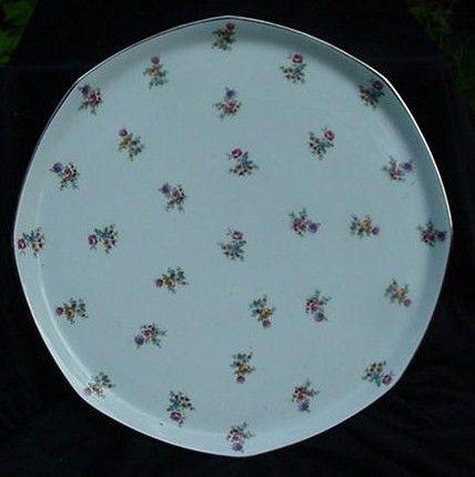 Limoges, France  Porcelain Platter, Gold Accented Rim, Tiny Flowers