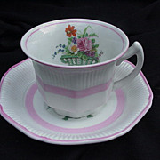 Wood & Sons, England, Demitasse Cup and Saucer, Pink, Florals