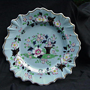 19th C. Porcelain Plate, Blue Background, Floral Decoration, Cobalt and Gold Accents