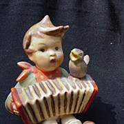Hummel Figurine, Boy Playing Accordion, Blue Bird