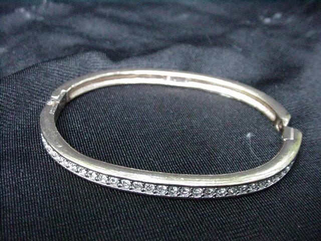 Vintage Goldtone Bracelet w Channel Mounted Rhinestones
