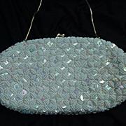 Vintage White Satin Handbag, Iridescent Sequins, Simulated Pearl Beads