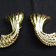 Vintage Goldtone Clip Earrings, Smooth Upper and Reticulated Lower Surface