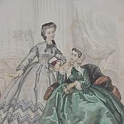 19th C. Fashion Print from Le Bon Ton Journal, Paris