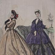 Le Bon Ton Fashion Print from 19th C. Paris Fashion Journal