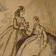 Le Bon Ton Fashion Illustration from Paris Journal de Modes, 19th C.
