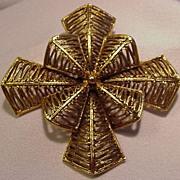 REDUCED Vintage Vendome Pin, Textured  Goldtone Cross